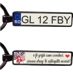 Breloc metalic argintiu personalizat cu poza text si numar auto